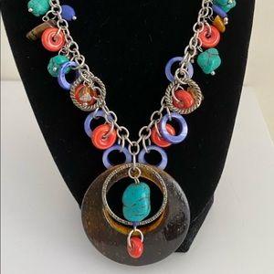 Silvertone rope chain dangle necklace pendant